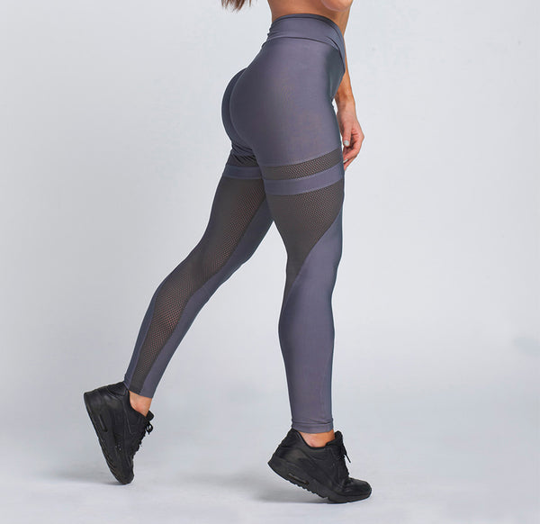 Gym Glamour - Mesh Leggings (Granit Grå)