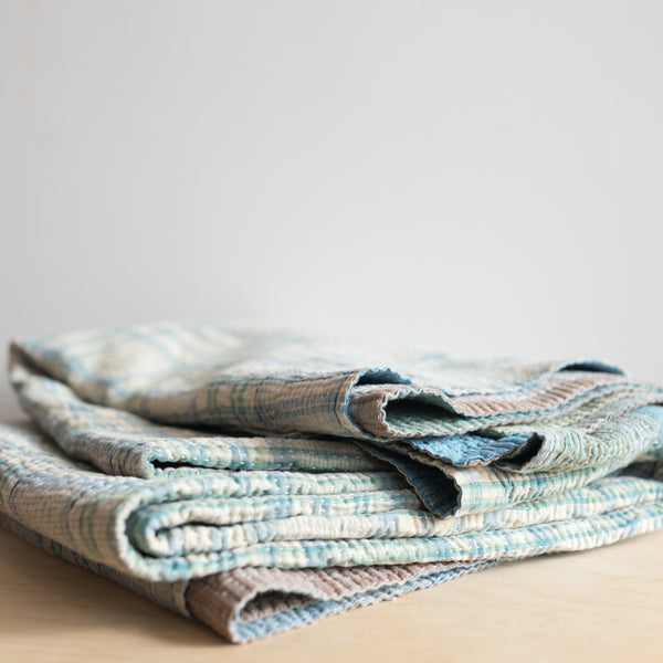 Plaid Kantha Blanket