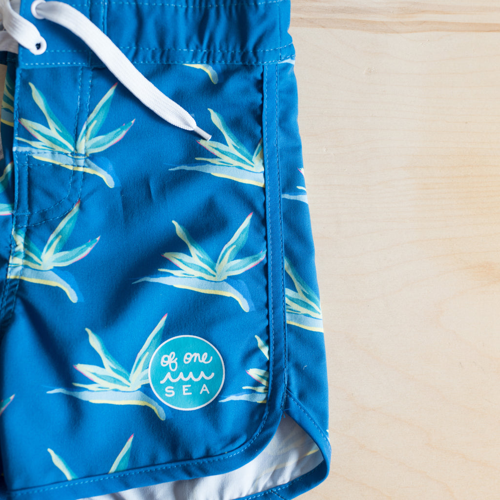Kids Bird Of Paradise Retro Surf Trunks