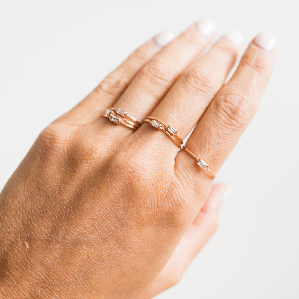 14K Diamond Baguette Ring