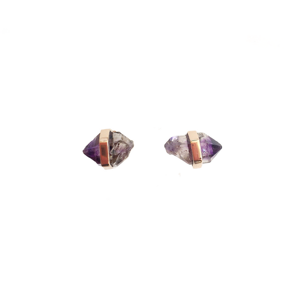 14K Gold Amethyst Studs Earring Set