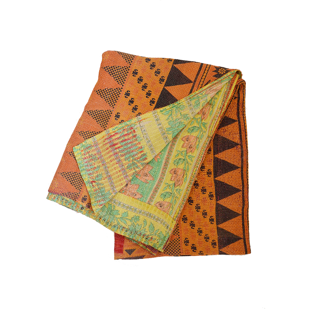 Orange Kantha Blanket