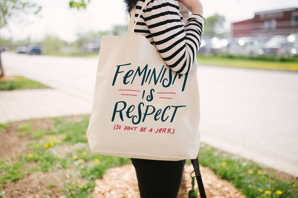 Feminism is Respect (So Don't Be a Jerk.) Large Tote Bag