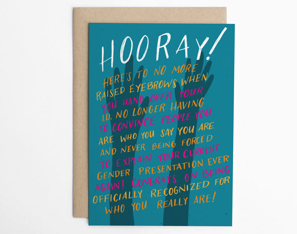 Hooray! - Gender Change Congratulations Card