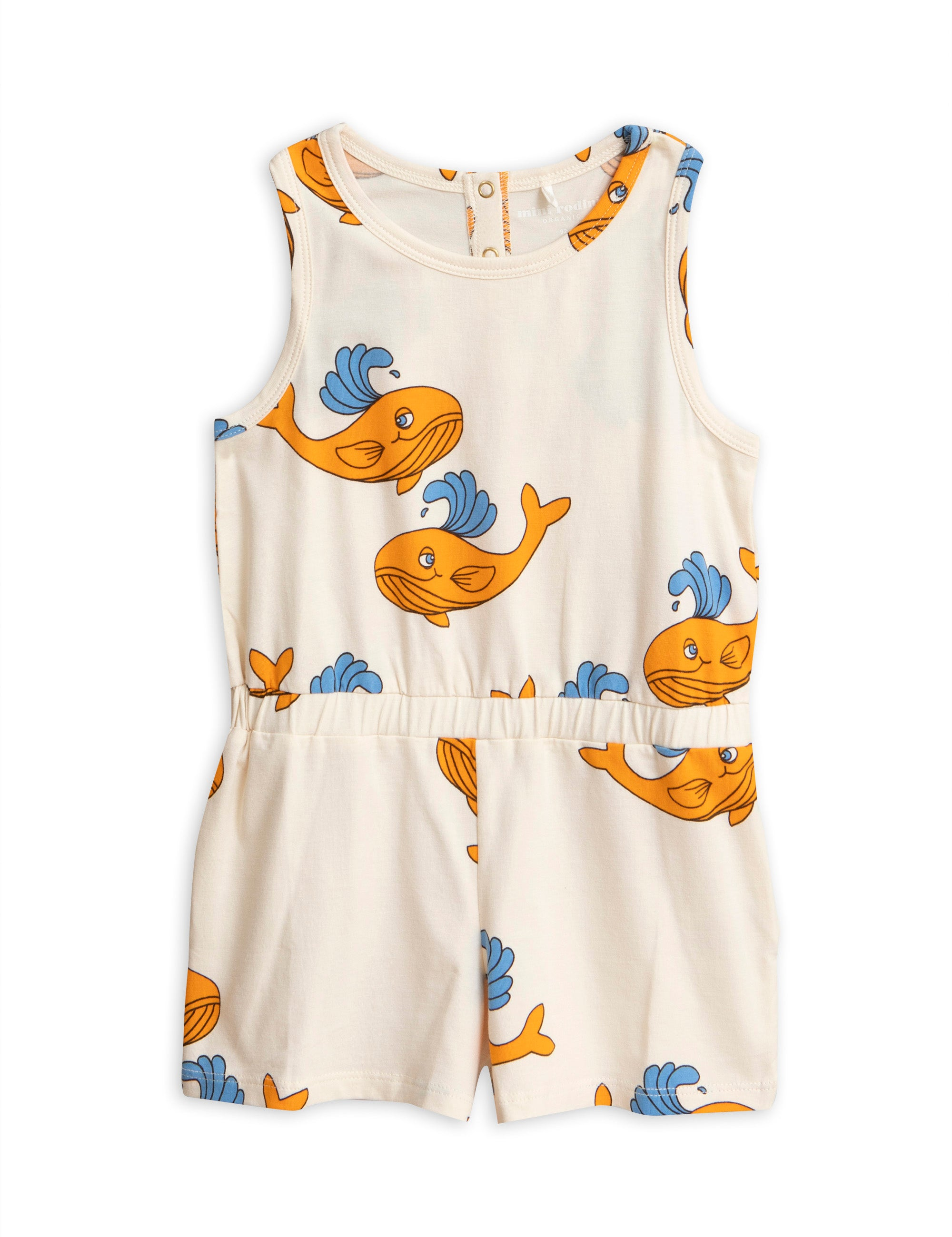 Mini Rodini Whale Summersuit - Orange