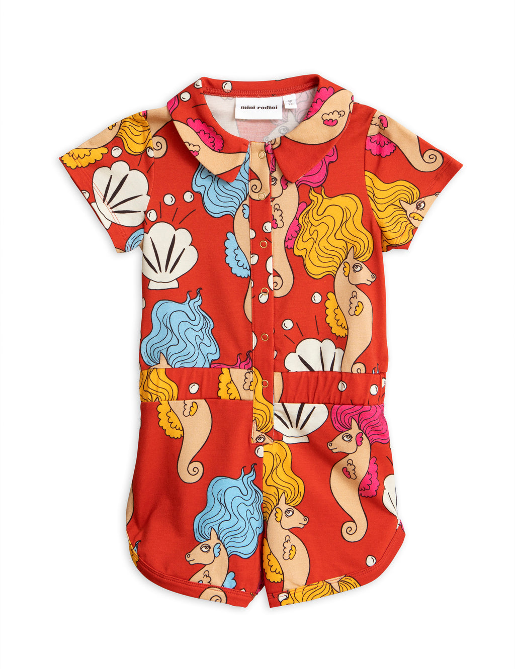 Mini Rodini Seahorse Summersuit - Red