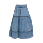 Petite Amalie Denim Tiered Midi Skirt