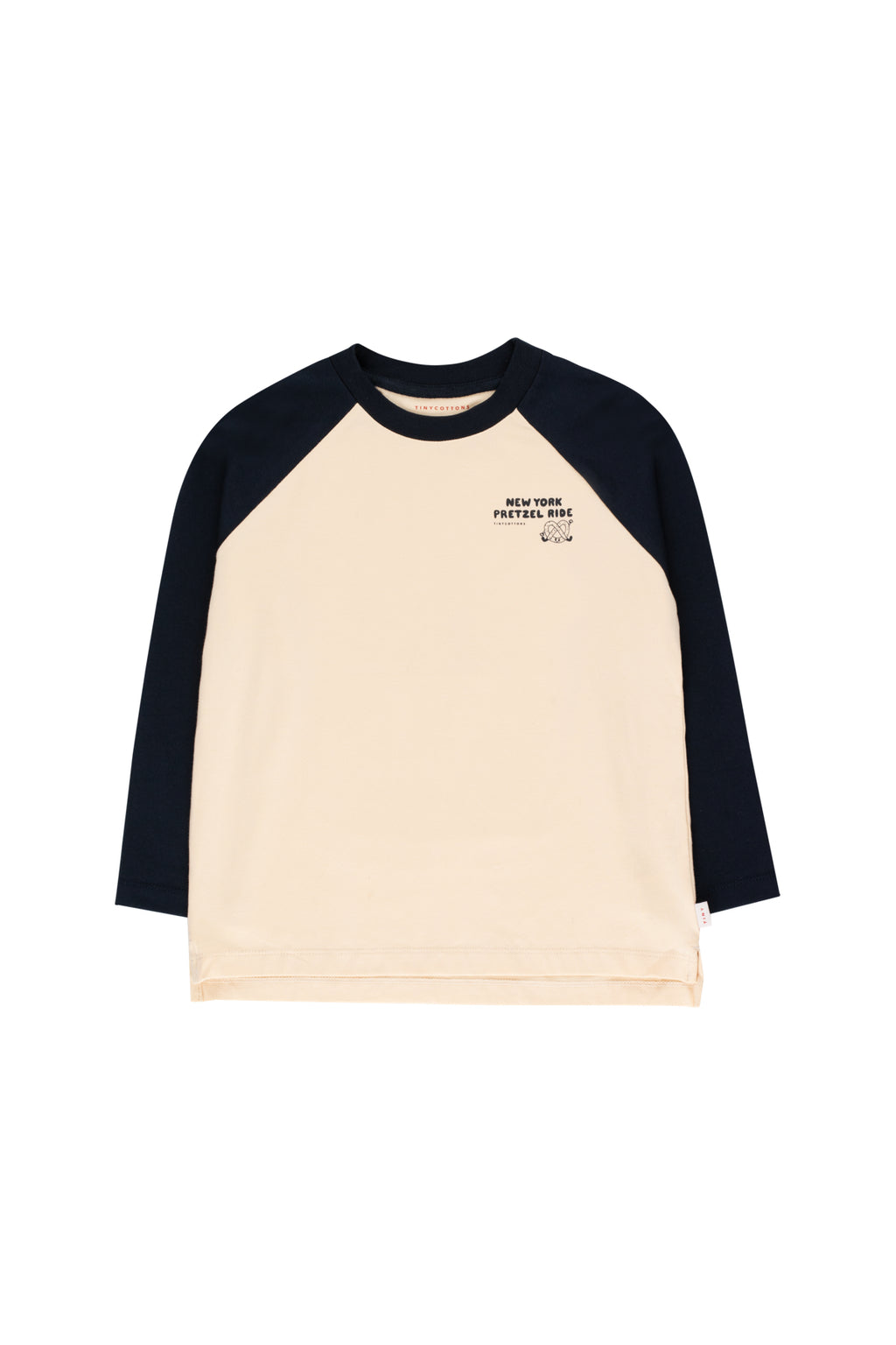 Tiny Cottons Pretzel Ride Color Block Tee  - Cream/Navy