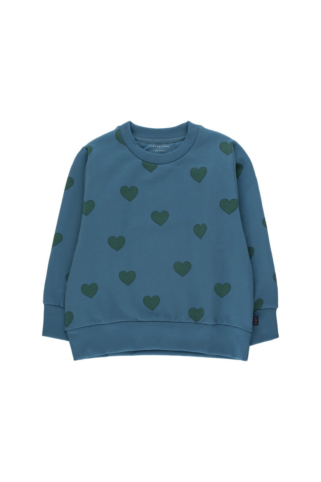 Tiny Cottons Hearts Sweatshirt - Sea Blue/Dark Green