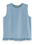 Scotch Shrunk Girls Wrap Back Top - Sky Blue