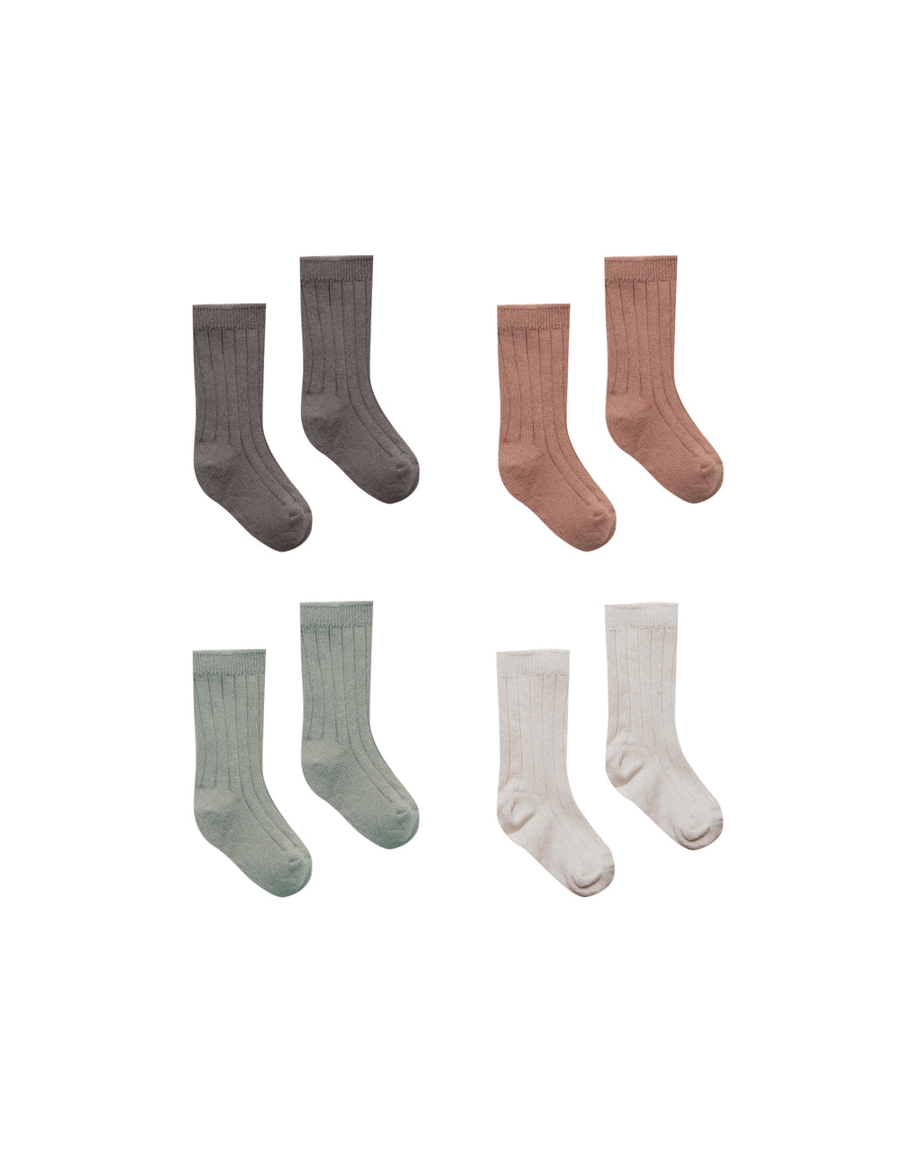 Quincy Mae Baby Sock 4 Pack - Coal, Clay, Eucalyptus, Stone