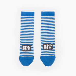 Bonnie Mob Poons Kids Stripe Short Socks - Blue