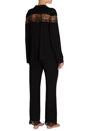 Eberjey Aurora Coquettish Long PJ - Black