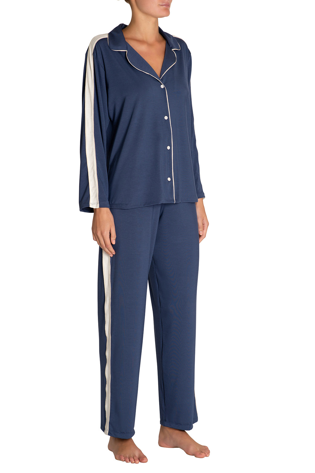 Eberjey Gisele Long Athletics PJ Set - Crown Blue/Nude Tint