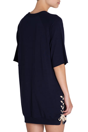 Eberjey Mason Lace Up Dress - Indigo Sea