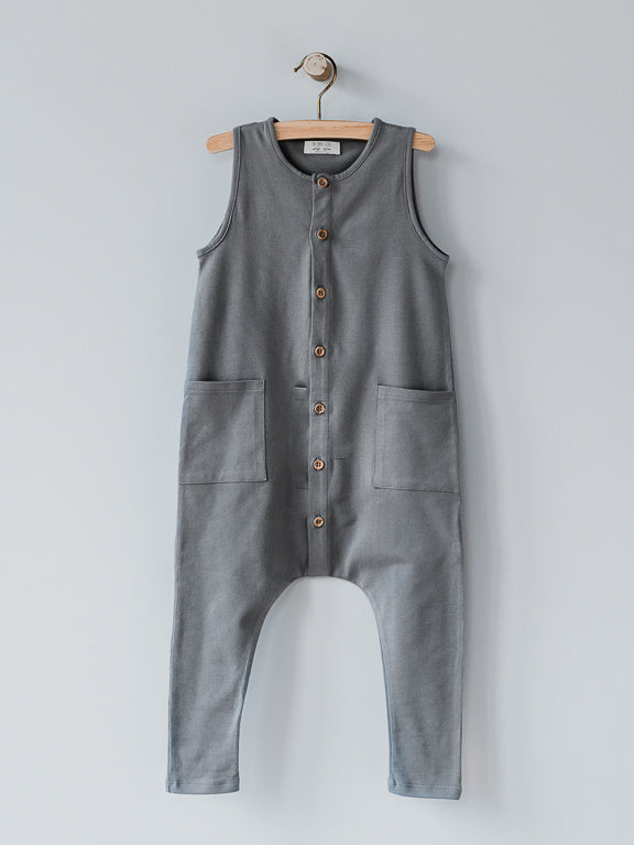 The Simple Folk Free Range Playsuit - Lead Gray