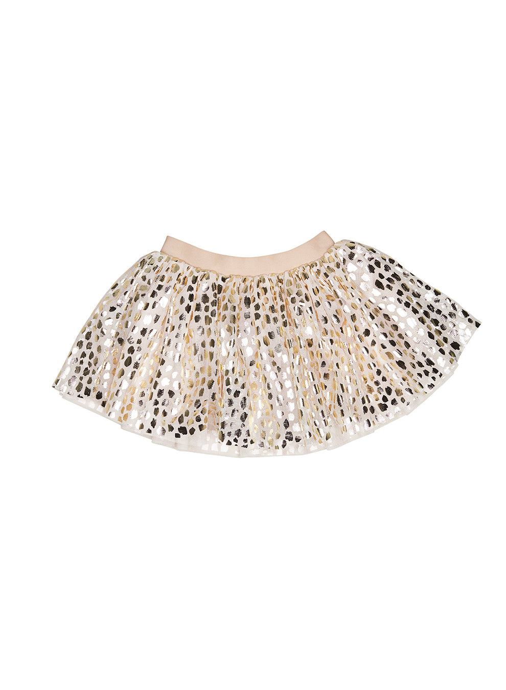Huxbaby Gold Leopard Tulle Skirt - Rose Gold