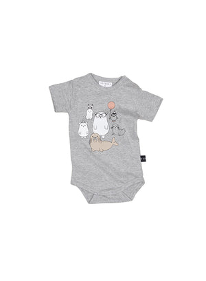Huxbaby Arctic Party Onesie - Grey Marle