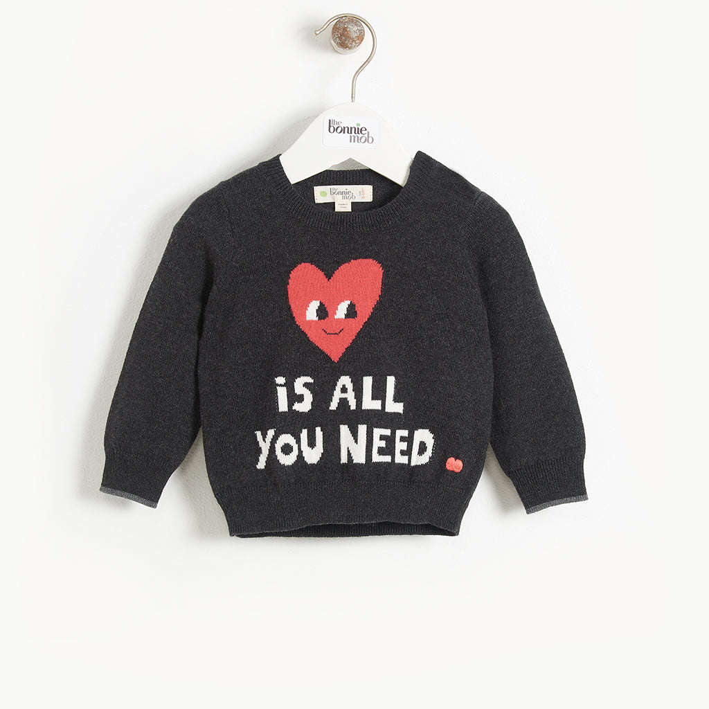 Bonnie Mob Love Is All You Need Sweater - Charcoal