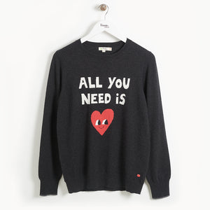Bonnie Mob All You Need Is Love Mum Sweater - Charcoal