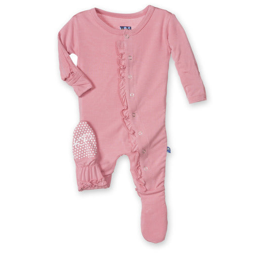Kickee Pants Basic Muffin Ruffle Footie - Desert Rose