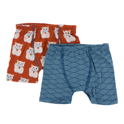 Kickee Pants Boxer Briefs Set Lucky Cat and Dusty Sky Tides
