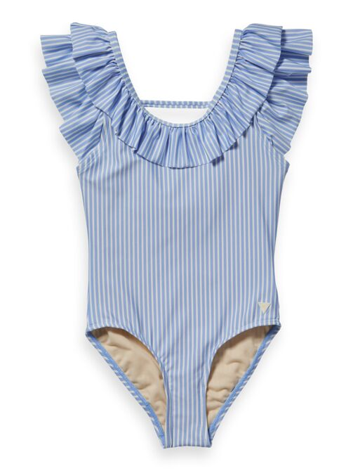 Scotch Shrunk Ruffled Shoulder One Piece - Blue Stripe