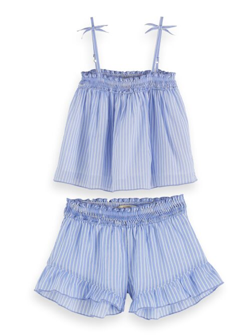 Scotch Shrunk Girls Twin Set Pajama - Blue Stripe