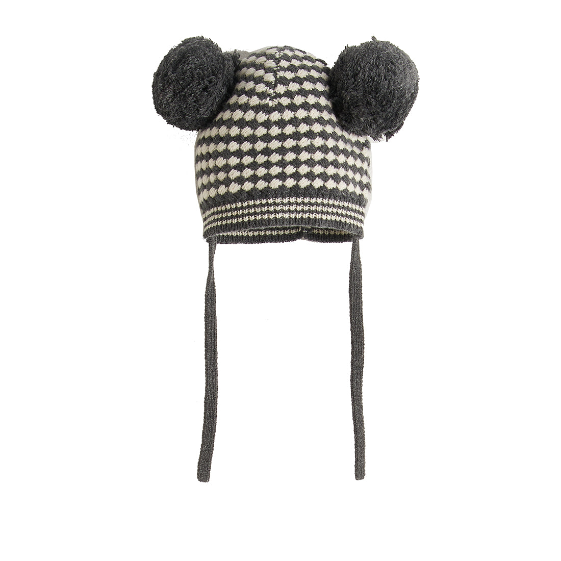 Bonnie Mob Chunky Knitted Hat with Pom Pom Ears - Monochrome