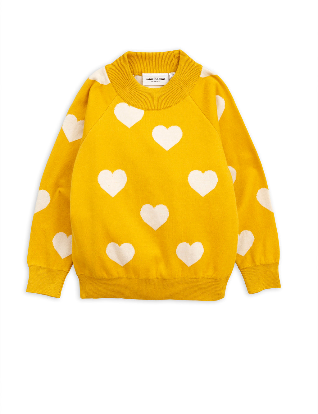 Mini Rodini Knitted Heart Sweater - Yellow