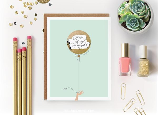 Inklings Paperie Mint & Gold Balloon Scratch-off Card