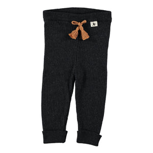 My Little Cozmo Knit Rib Leggings - Dark Grey