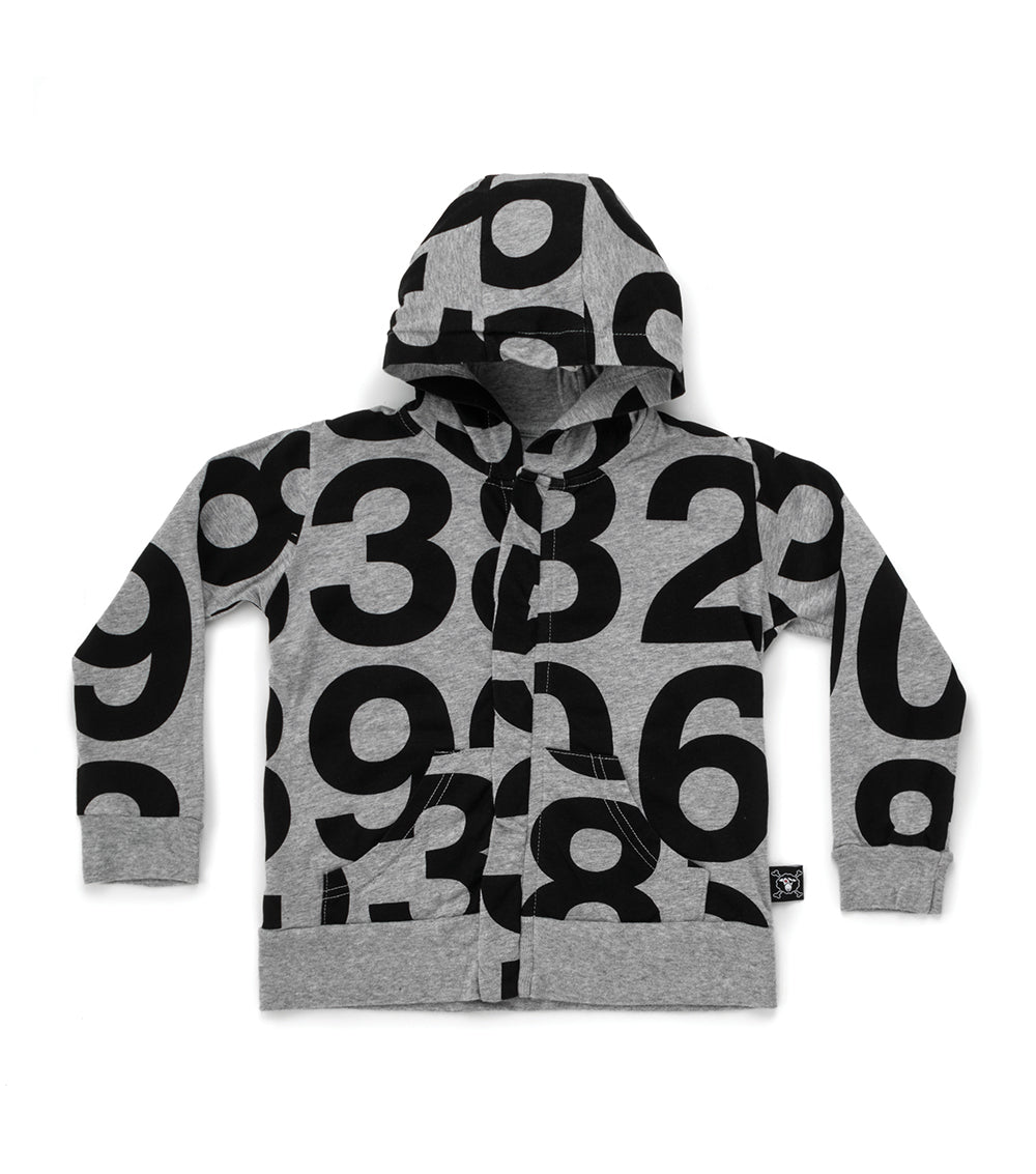 Nununu Numbered Zip Hoodie- Heather Grey