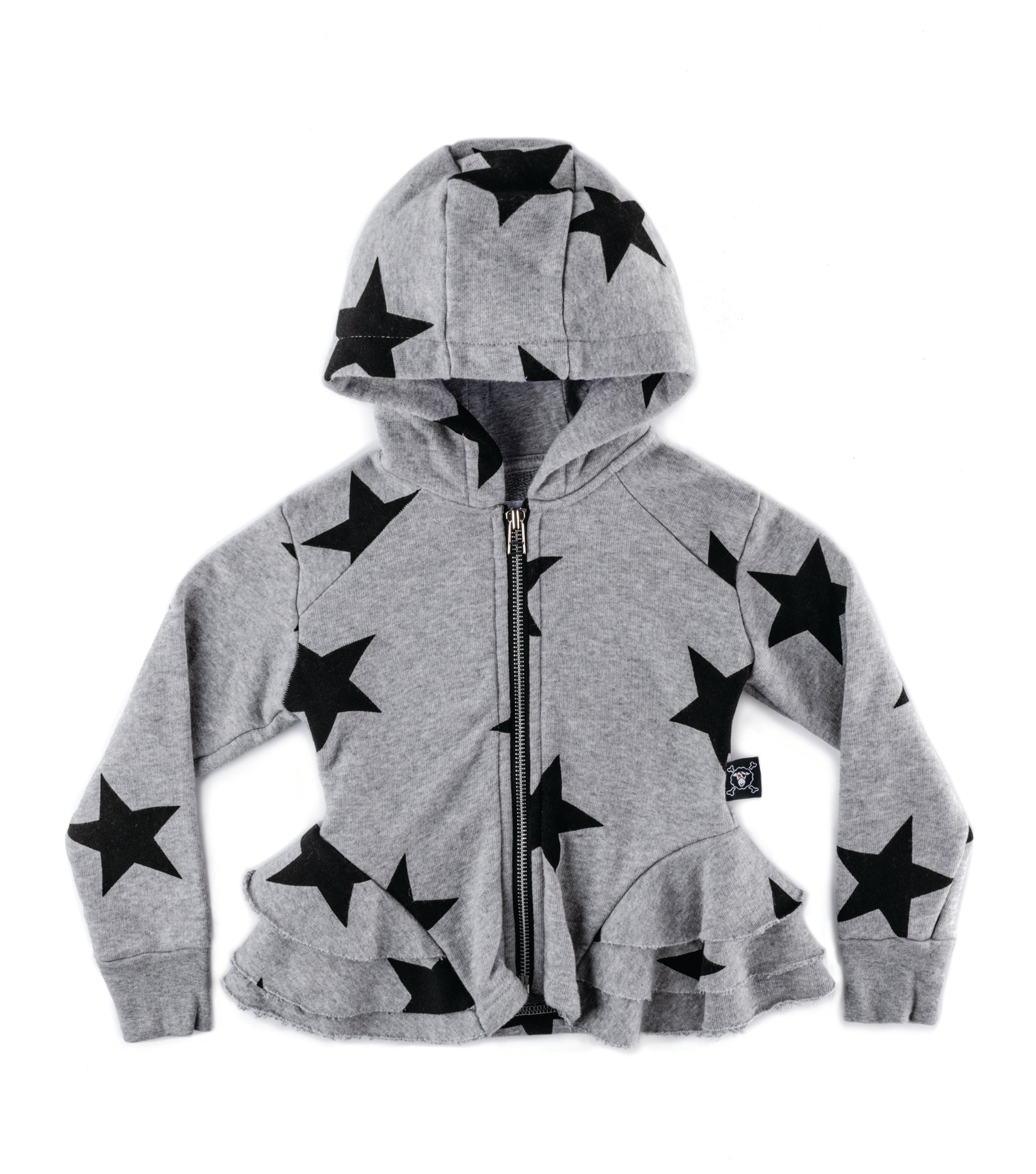 Nununu Star Ruffle Zip Hoodie - Heather Grey
