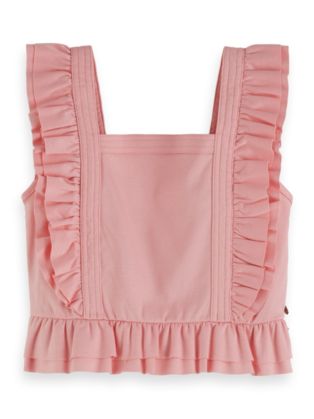 Scotch Shrunk Girls Clean Jersey Worked Out Top with Ruffles - Blush