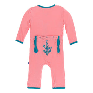 Kickee Pants Applique Coverall with Zipper - Strawberry Cactus