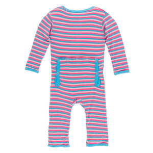 Kickee Pants Coverall Flamingo Anniversary Stripe