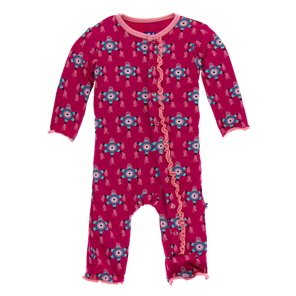 Kickee Pants Print Muffin Ruffle Coverall with Snaps - Rhodendron Pinata