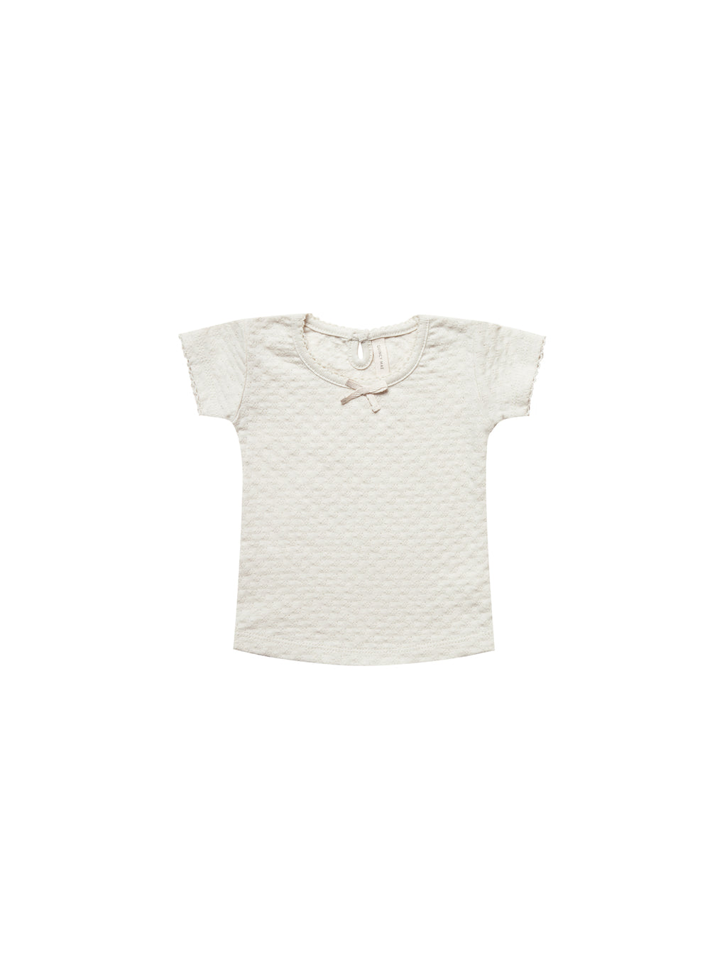 Quincy Mae Pointelle Tee - Pebble