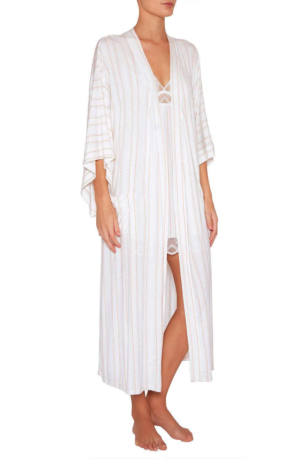 Eberjey Summer Stripes Parlor Robe - Multi