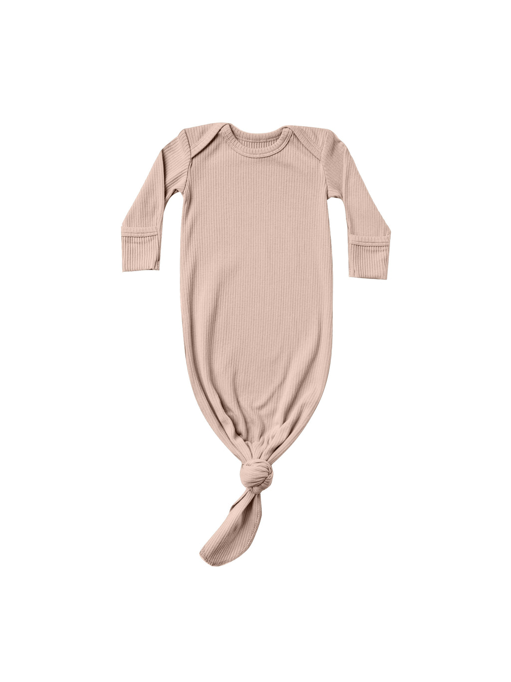 Quincy Mae Ribbed Knotted Baby Gown - Petal