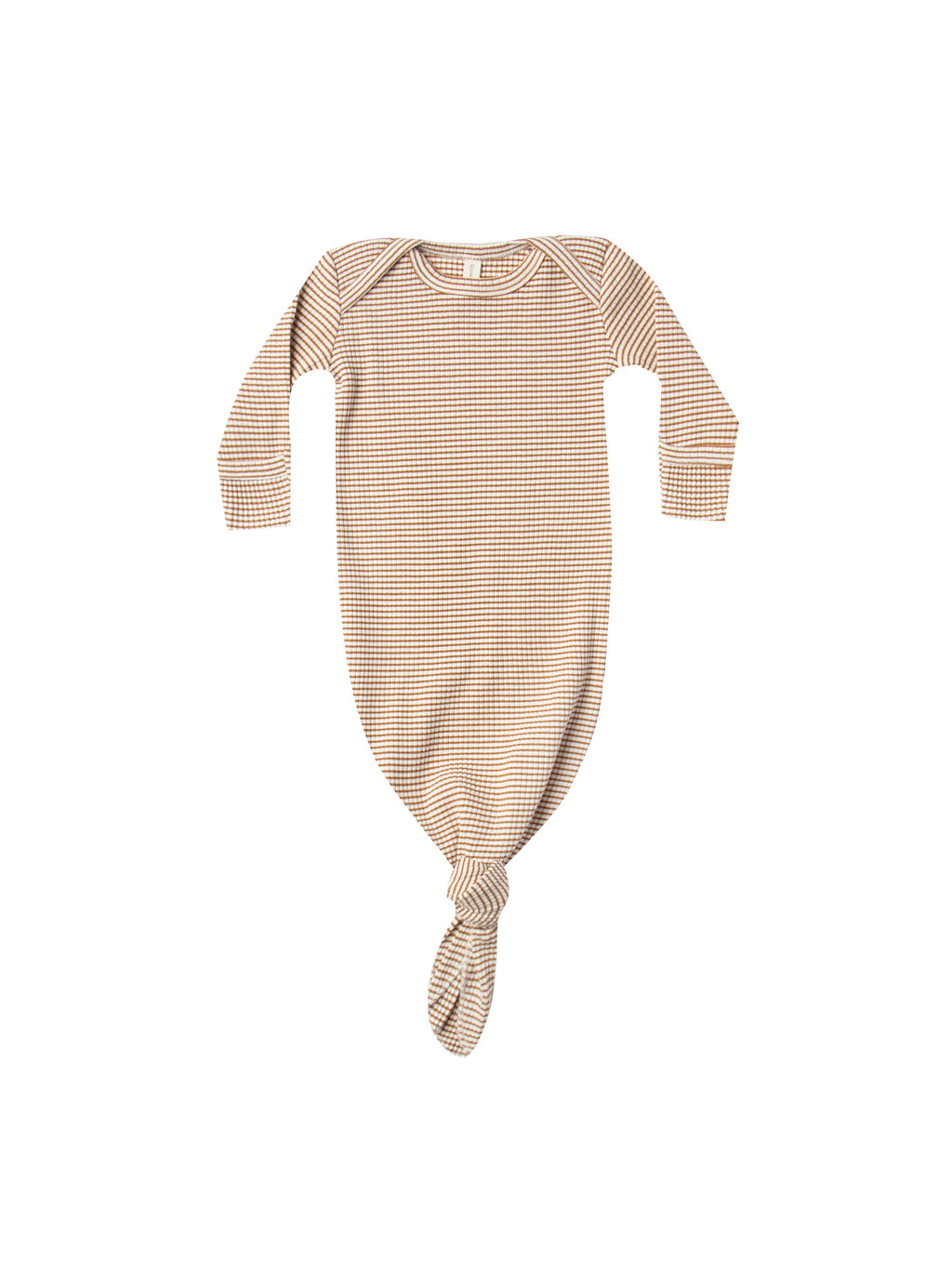 Quincy Mae Ribbed Knotted Baby Gown - Walnut Stripe