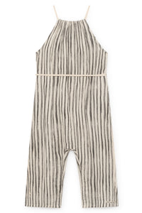 Little Creative Factory Bamboo Striped Jumpsuit - Black Stripe