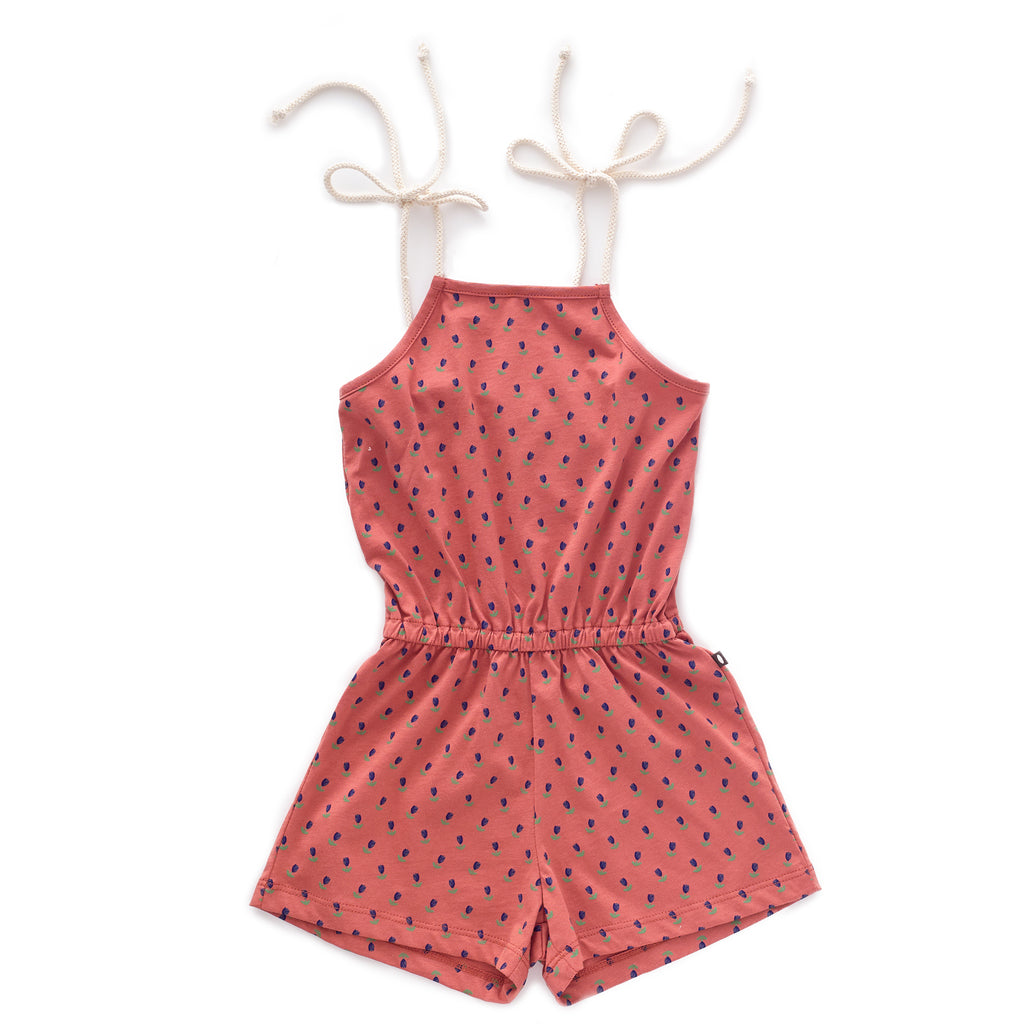 Oeuf Jersey Playsuit - Rust/Tulips