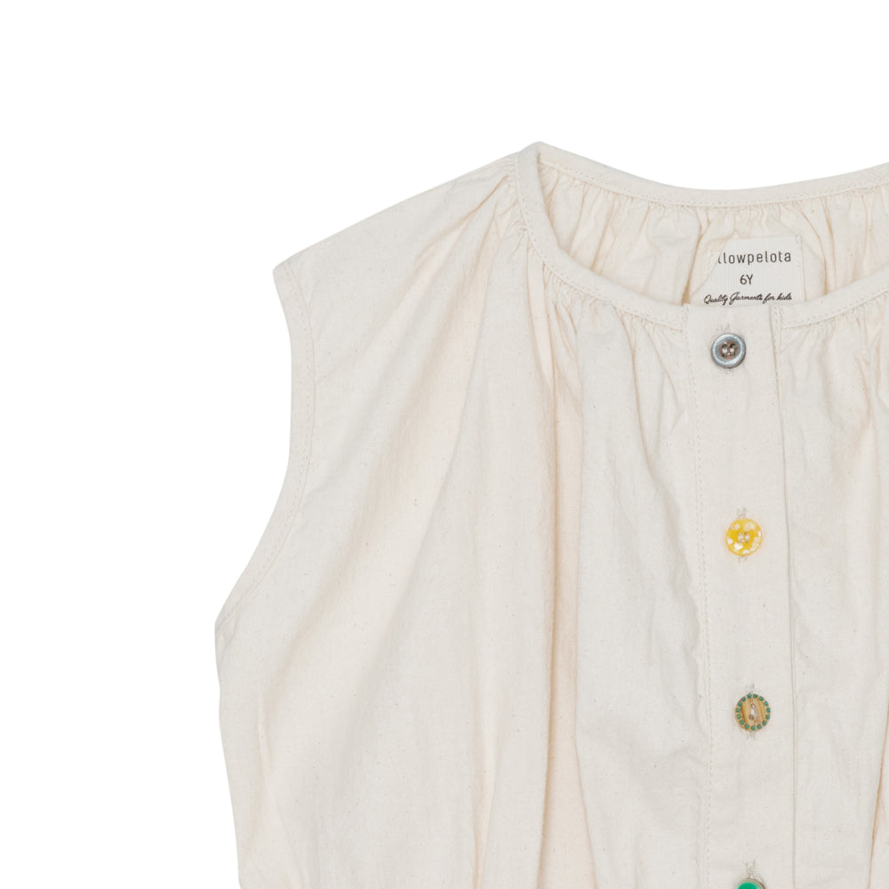 Yellow Pelota Mix Buttons Blouse - Natural