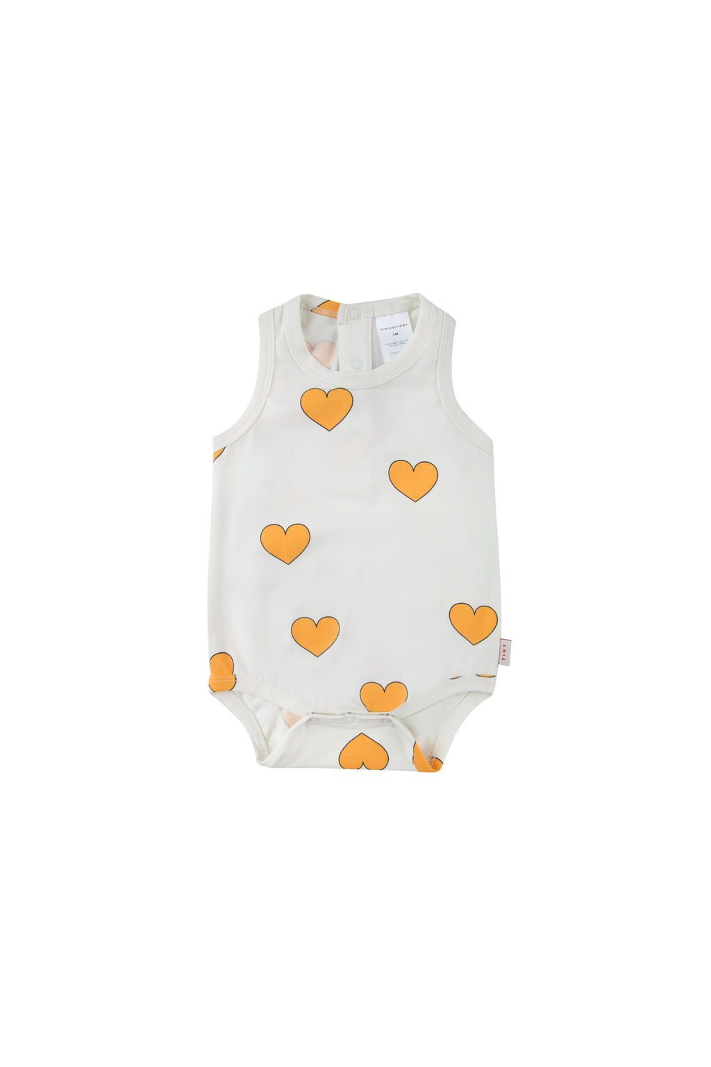 Tiny Cottons Hearts Body - Off White/Yellow