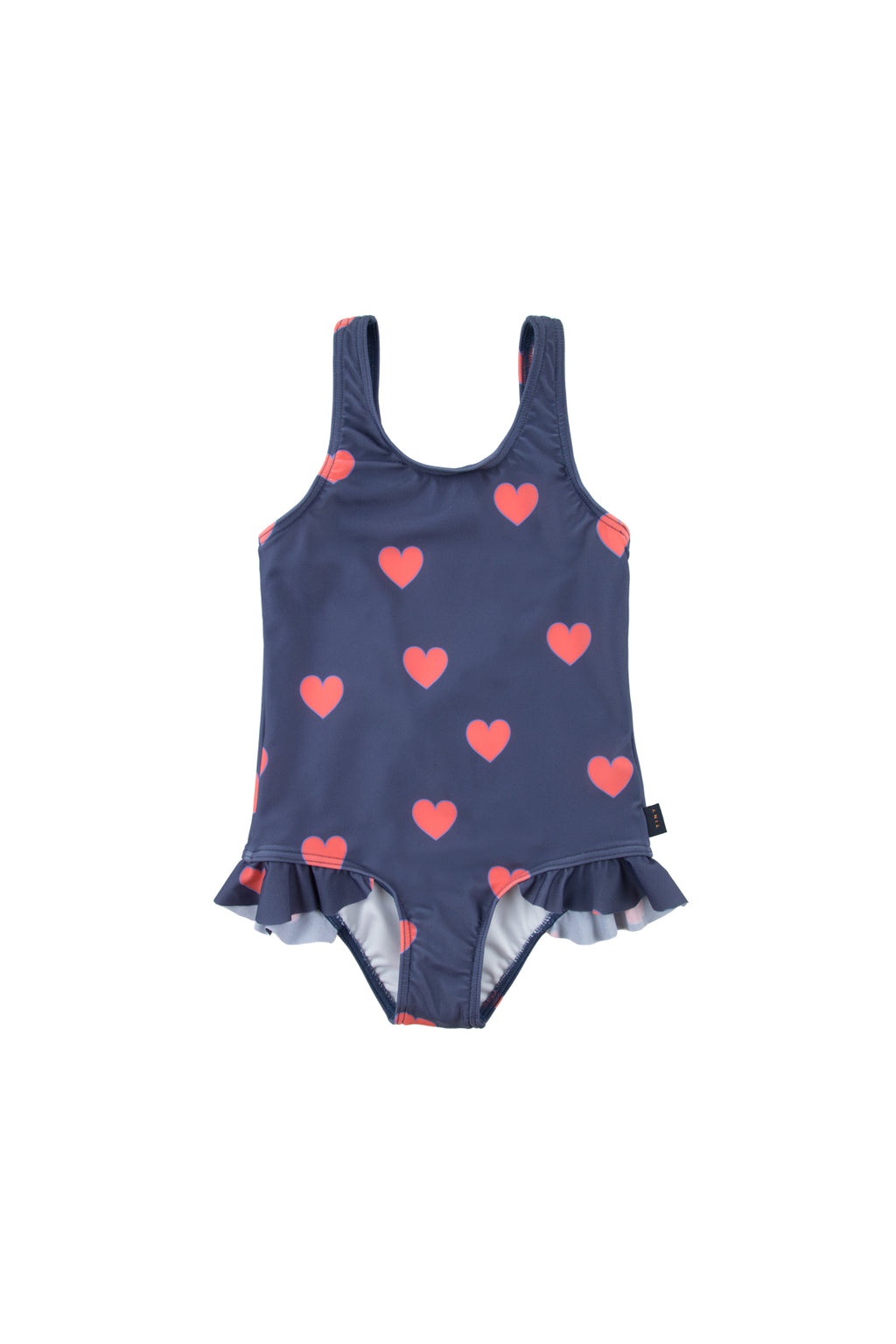 Tiny Cottons Hearts Frills Swimsuit - Navy/Red