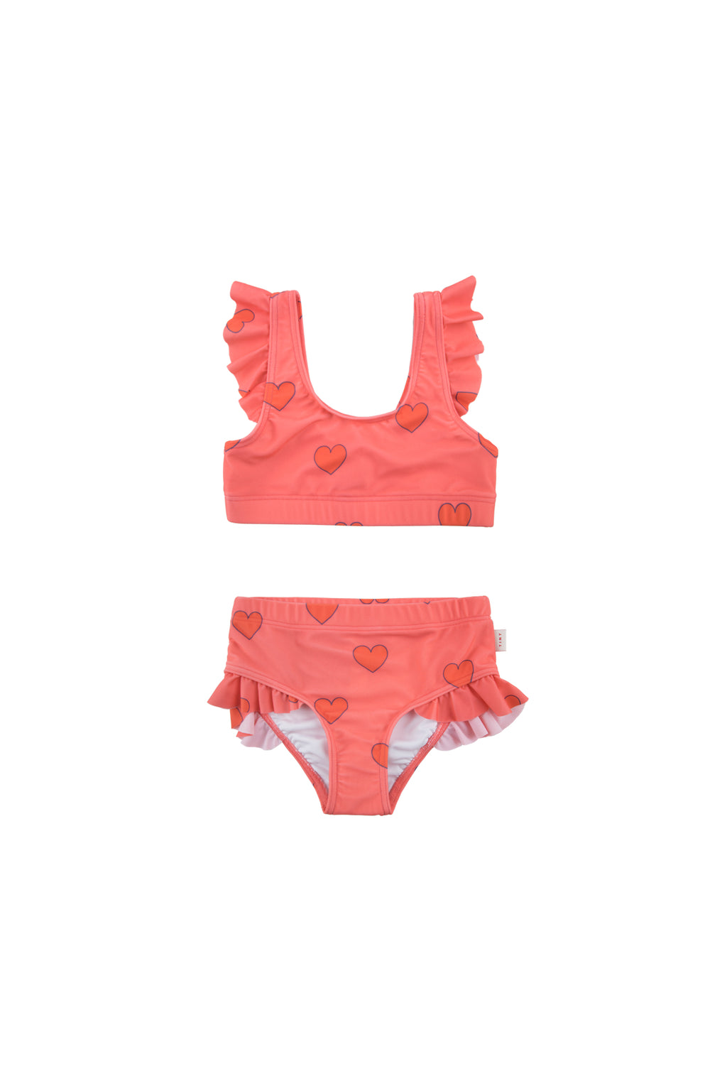 Tiny Cottons Hearts Swim Set - Light Red/Red
