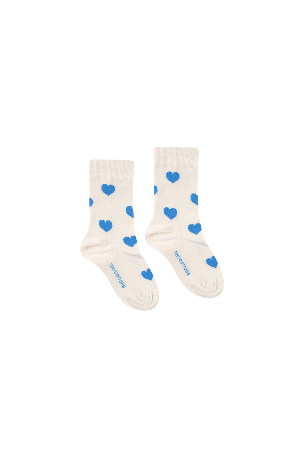 Tiny Cottons Hearts Medium Socks - Light Cream/Cerulean Blue