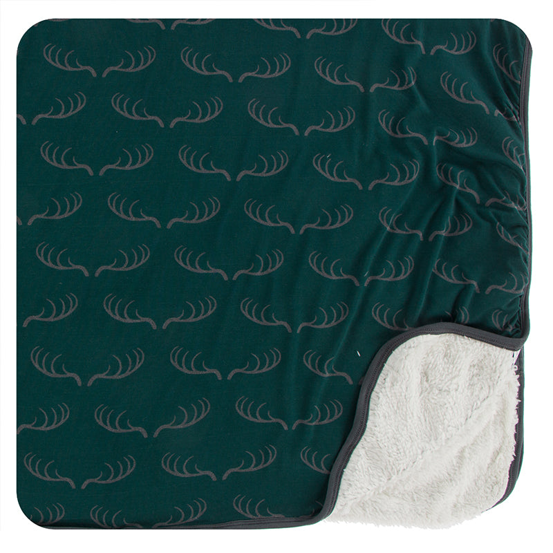 Kickee Pants Print Sherpa Lined Toddler Blanket - Pine Deer Rack